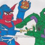 Spiderman vs Green Goblin mit vertauschten Farben