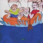 Sören und Sebastian im Schlauchboot